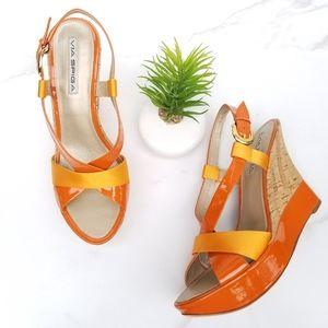Via Spiga Zevas Sandals Orange Wedge Cork Heels